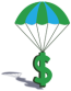 Karrie Mae Southern Law Office logo of a money symbol with a parachute